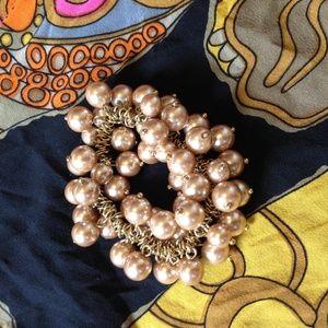 J.Crew Pink Pearl Cluster Elastic Bracelet